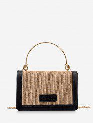 Rectangle Patchwork Straw Chain Crossbody Bag -
