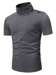 Turtleneck Horn Button Short Sleeve Slim Fit T Shirt -