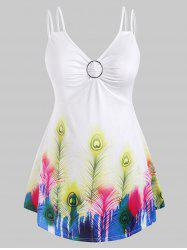 O Ring Ruched Feather Printed Plus Size Tank Top -