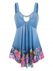Butterfly Floral Print Chain Cut Out Tank Top -