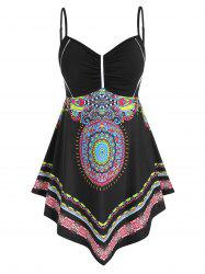 Plus Size Asymmetric Tribal Print Tank Top -