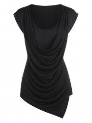 Draped Asymmetric Faux Twinset T-shirt -