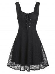 Lace-up Sleeveless Skull Lace Dress -