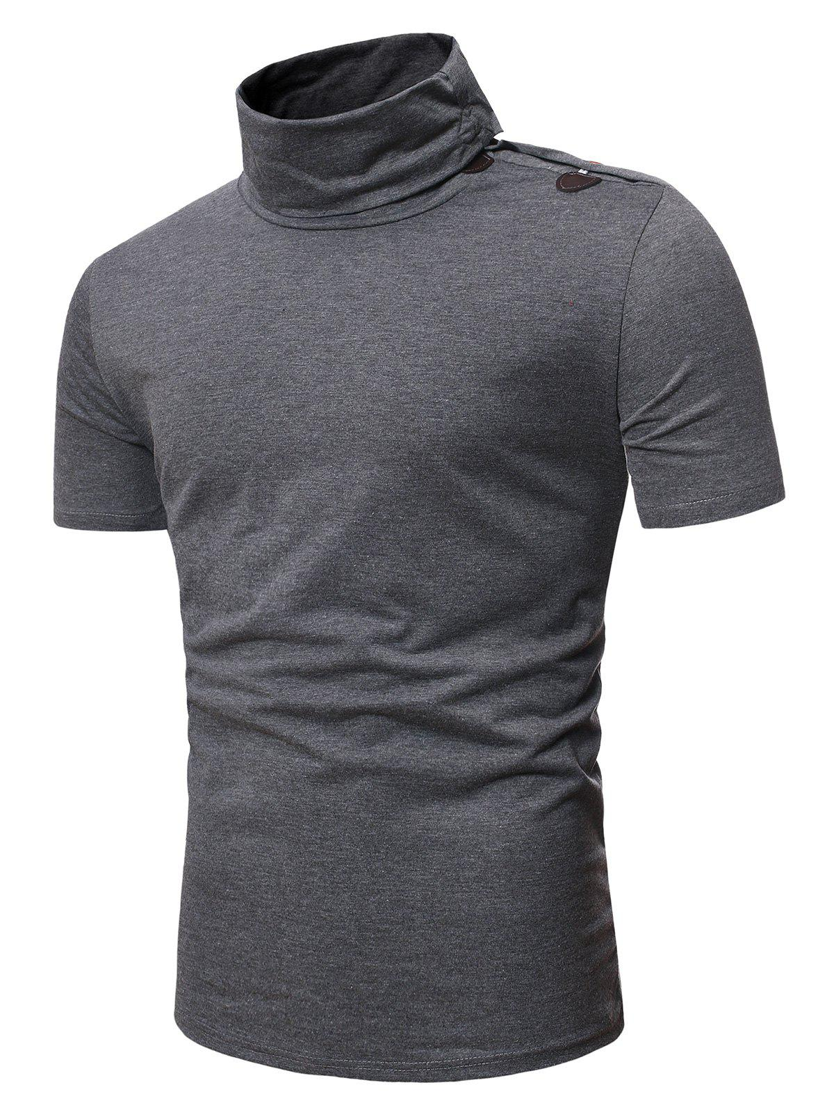 Fancy Turtleneck Horn Button Short Sleeve Slim Fit T Shirt