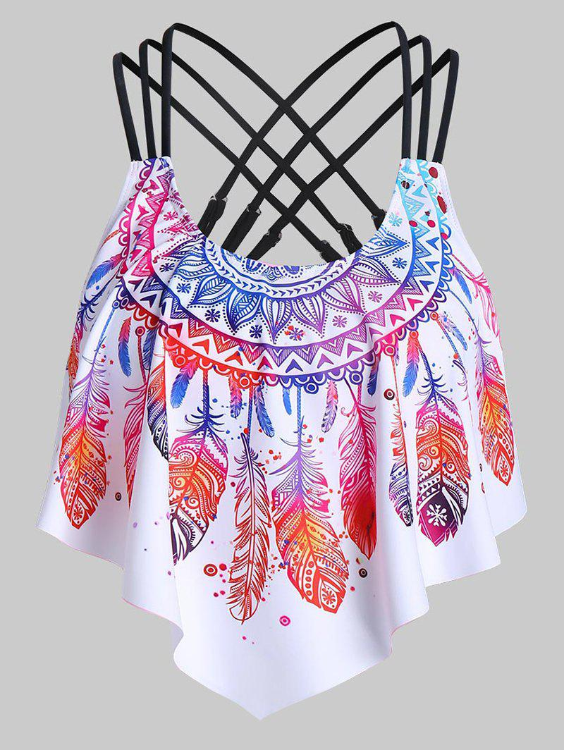 Unique Strappy Feather Print Pointed Hem Swim Top