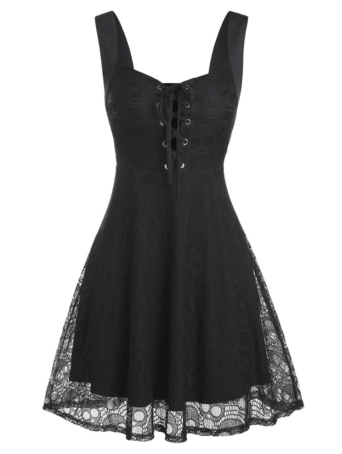 Affordable Lace-up Sleeveless Skull Lace Dress