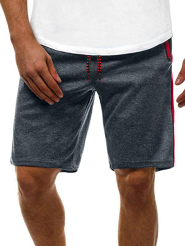 Contrast Color Zip Pockets Casual Shorts Gris S