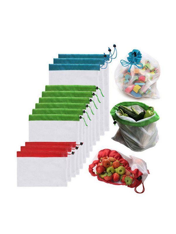 12 Pcs Fruits Mesh Drawstring Storage Bags Set thumbnail