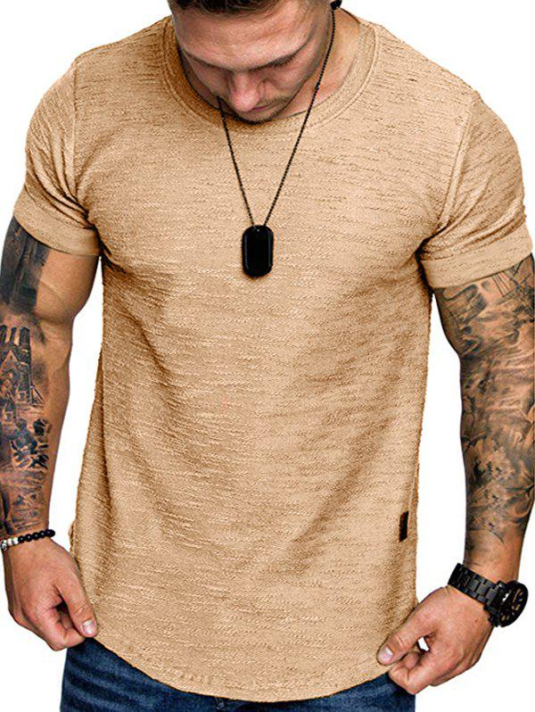 Shops Pure Color Short Sleeve Curved T Shirt