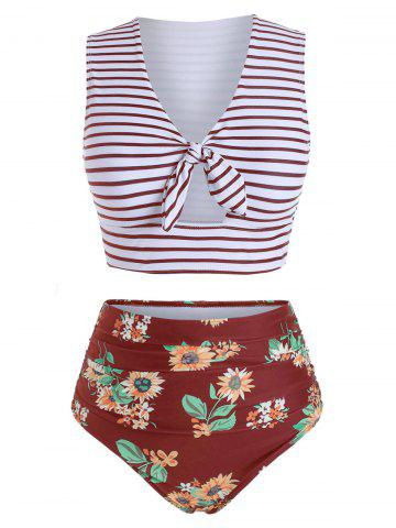 Striped Floral V Neck Two Piece Swimsuit - RED WINE - S