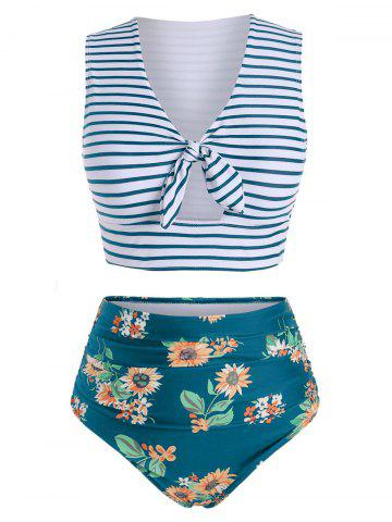 Striped Floral V Neck Two Piece Swimsuit