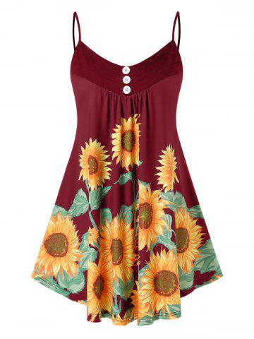 Plus Size Printed Sunflower Button Slip Tank Top - RED WINE - 2X