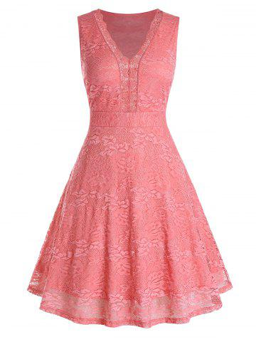 Plus Size Lace A Line High Waisted Dress - LIVING CORAL - 5X