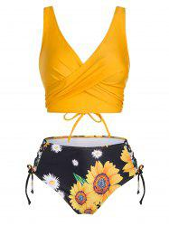 Floral Print Lace Up High Waisted Tankini Swimwear -