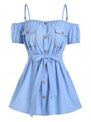 Button Through Flat Pocket Belted Blouse -
