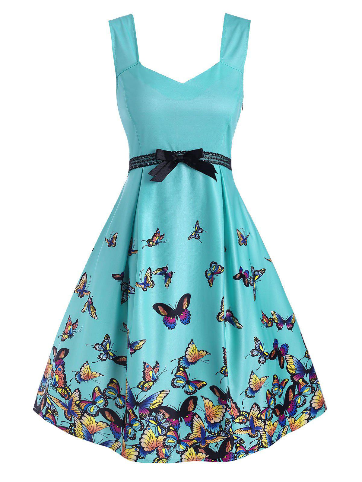 Chic Butterfly Print Lace Panel Bowknot Empire Waist Dress
