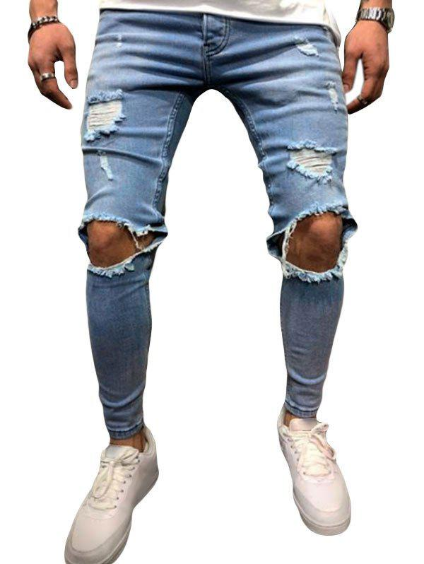 Cheap Ripped Hole Design Button Fly Jeans
