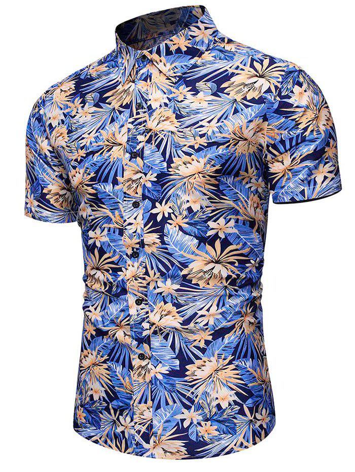Store Flower Leaf Pattern Casual Shirt