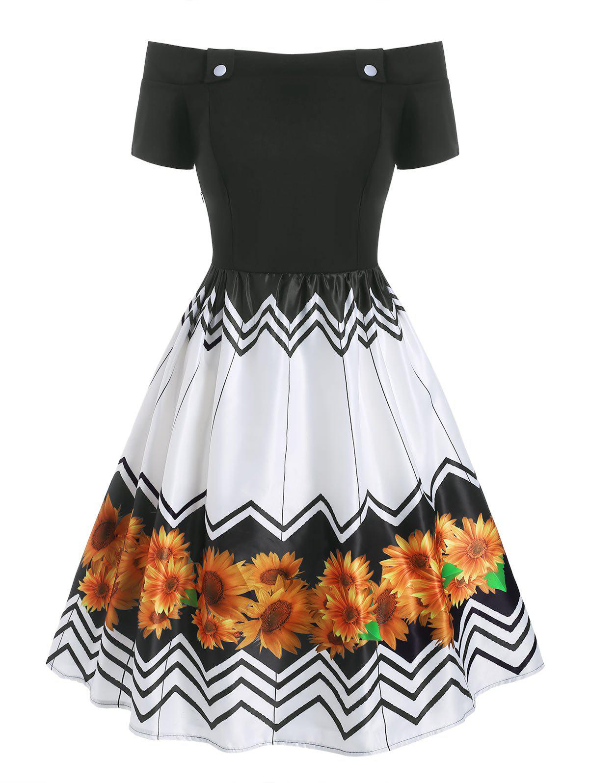 Unique Zigzag Sunflower Off Shoulder Button Embellished Dress