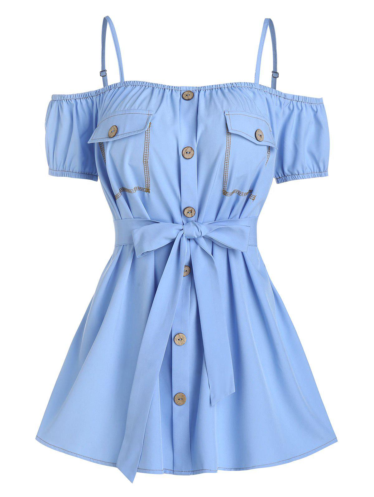 Outfits Button Through Flat Pocket Belted Blouse