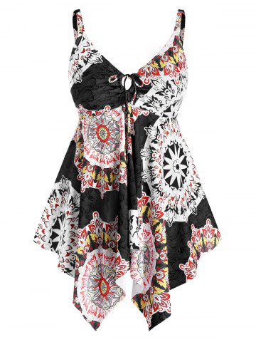 Plus Size Flower Print Bowknot Skirted Tankini Swimwear