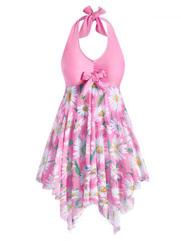 Plus Size Sunflower Print Backless Handkerchief Tankini Swimsuit - LIGHT PINK - L