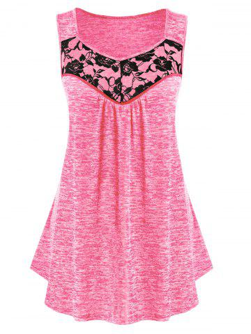 Plus Size Lace Panel Marled Tank Top - HOT PINK - 3X