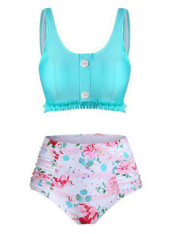 Floral Print Frilled Hem High Waisted Tankini Swimwear