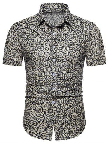 Floral Geometric Print Short Sleeve Shirt - BEIGE - XL