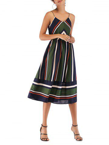 Stripes Elastic Waist Cami Midi Dress