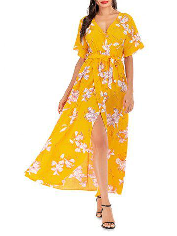 Floral Overlap Belted Surplice Maxi Dress