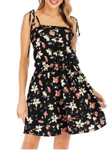 Floral Mock Buttons Tie Shoulder Mini Dress