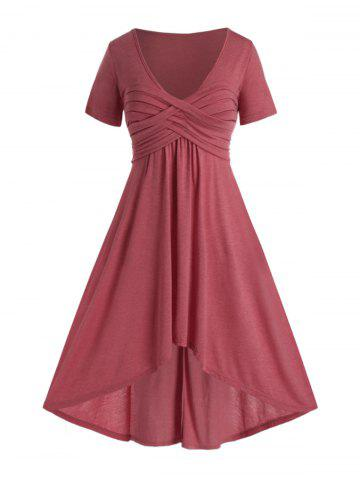 Plus Size Ruched High Low Plunging Maxi Dress - VALENTINE RED - L