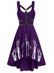 Skeleton Print Harness Insert High Low Flare Dress -