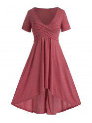 Plus Size Ruched High Low Plunging Maxi Dress -