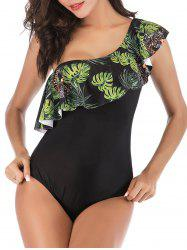 Leaves Leopard Flounces One Shoulder One-piece Swimsuit -