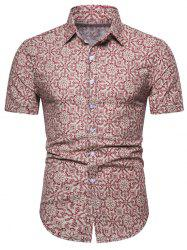Floral Geometric Print Short Sleeve Shirt -
