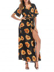 Floral Overlap Belted Surplice Maxi Dress -