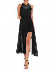 Lace Panel Picot Trim Chiffon Slit Dress -