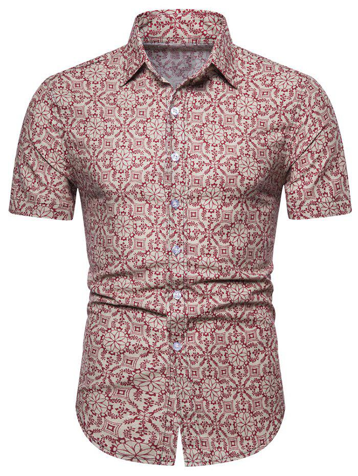 Sale Floral Geometric Print Short Sleeve Shirt