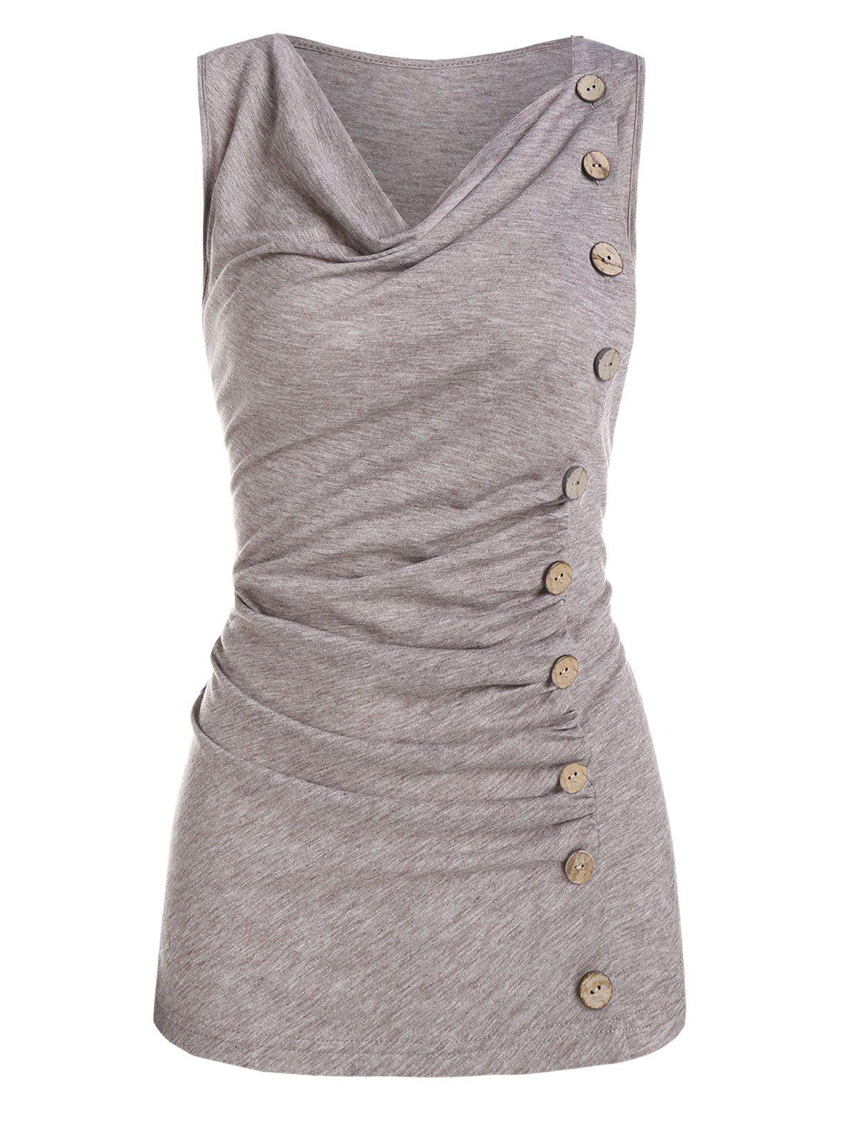 Buy Ruched Mock Button Tank Top