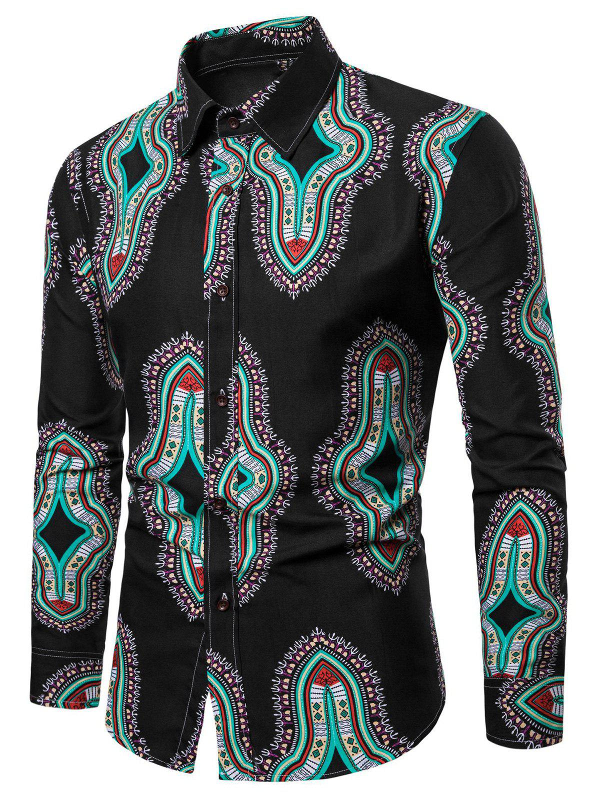 Unique Long Sleeve Graphic Print Casual Shirt