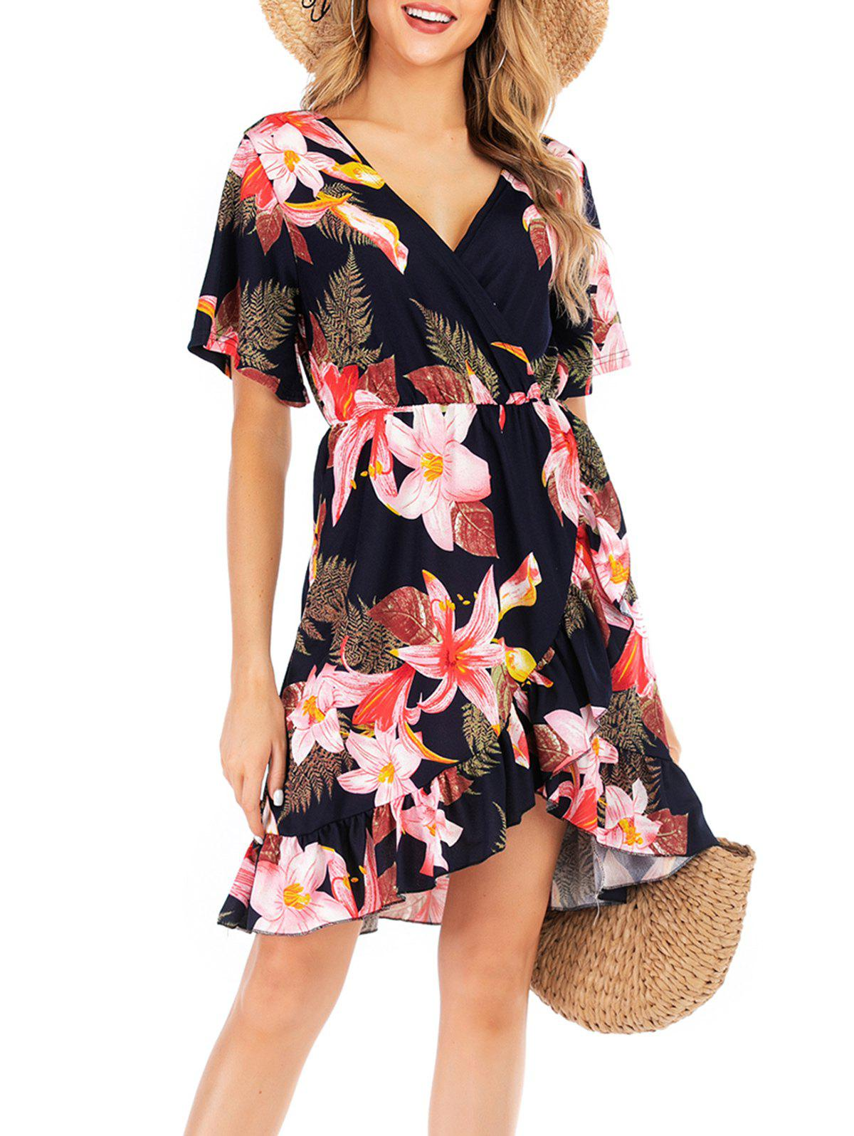 Chic Floral Print Low Cut Ruffle Dress