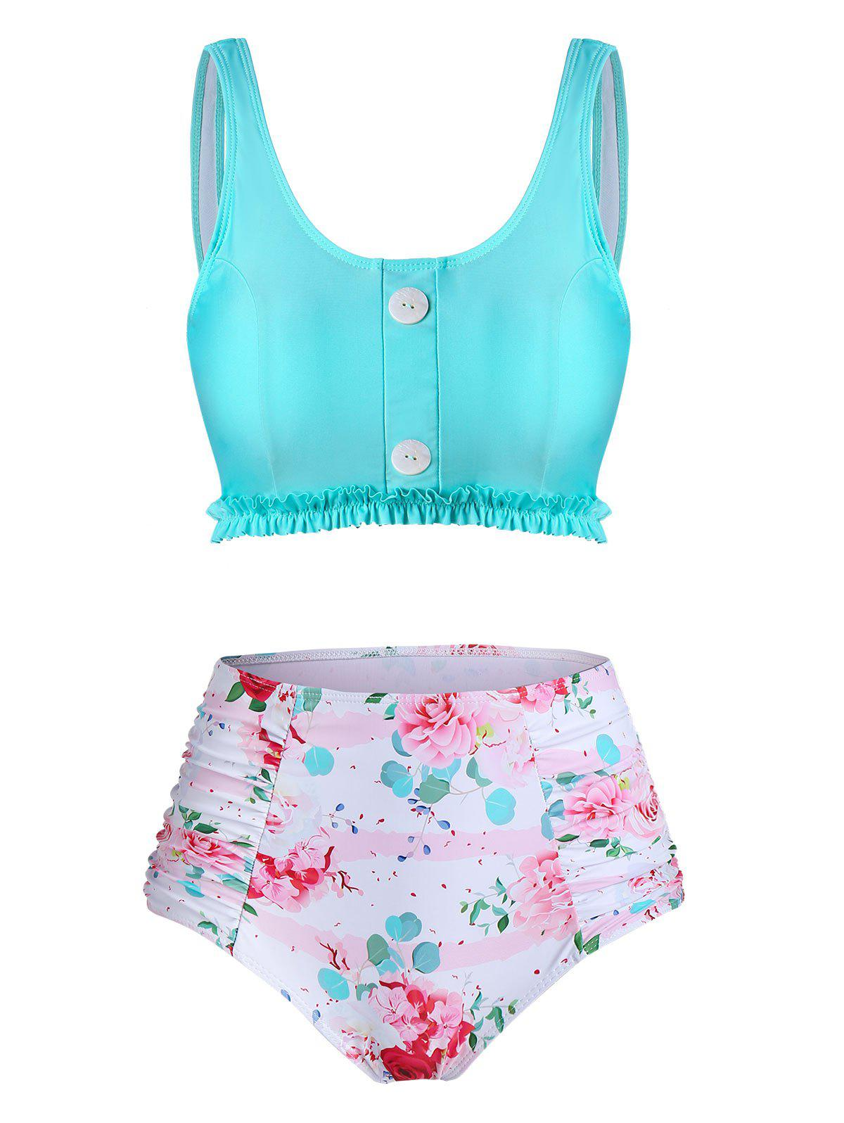 Outfit Floral Print Frilled Hem High Waisted Tankini Swimwear