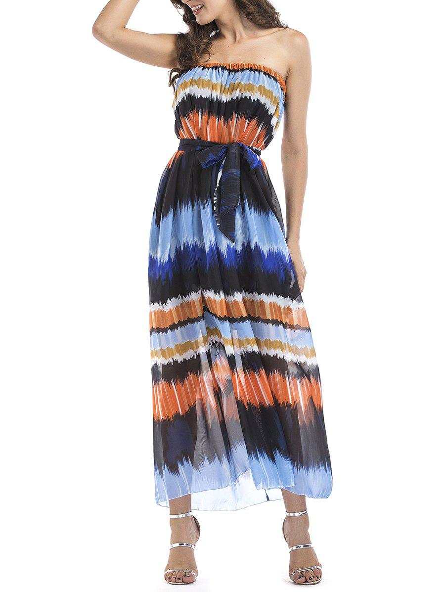 Affordable Chiffon Strapless Printed Belted Dress