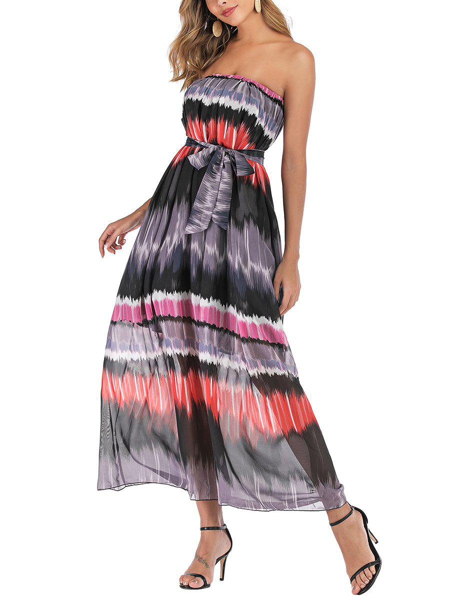 Online Chiffon Strapless Printed Belted Dress