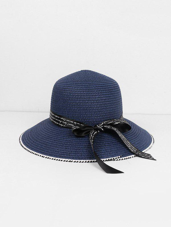Outfits Beach Letter Ribbon Straw Sun Hat