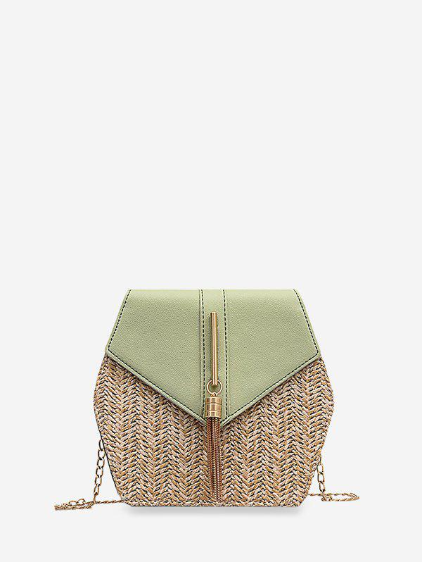 Shop Geometric Tassel Knitted Chain Crossbody Bag