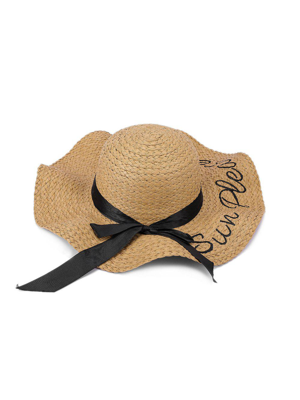 Latest Bowknot Letter Decoration Straw Hat