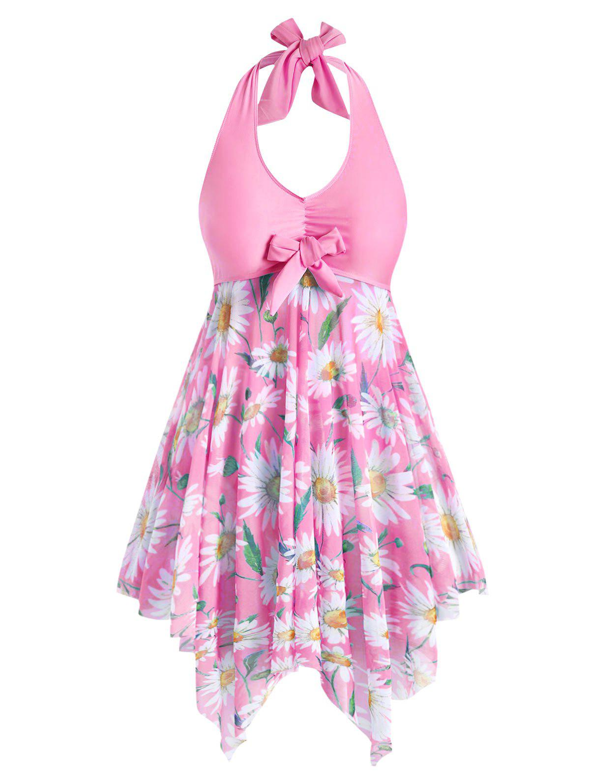 Buy Plus Size Sunflower Print Backless Handkerchief Tankini Swimsuit